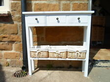 H80 W85 D20cm BESPOKE WHITE CONSOLE HALL TELEPHONE TABLE 3 DRAWER 3 BASKETS