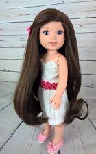 """8-9"""" Custom Doll Wig fits Dolfie, Luts, Wellie Wisher """"Lil' Brownie Swirl"""" bn1"""