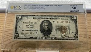 1929 $20 FRBN New York Fr 1870-B Jones | Woods PCGS AU 58 S/N B01601088A