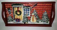NEW VTG 90's Winter - Christmas Scene Small Serving - Trinket Tray Wooden & Tile
