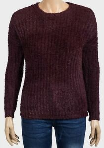 WOMENS/GIRLS CHENILLE STRETCHY JUMPER SIZE 6 TO 20 BLACK AUBERGINE NAVY