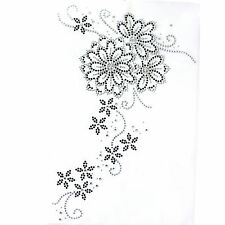 Rhinestone Iron On Transfer Hot fix Motif Fashion Design Flower Vine deco