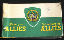 KNOW YOUR ALLIES COLLECTOR BOOK ENGLISH/FRENCH USMC USN ARMY USAF COAST GUARD