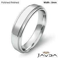 Flat Step Solid Ring Men's Wedding Plain Band 5mm 14k White Gold 6.2g 12-12.75