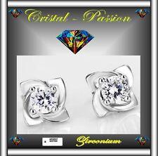 Boucle d'oreille puce argent 925 + zirconium fine et subtile clou E01D