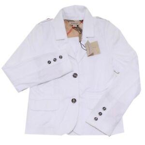 6910I giacca bimba girl BURBERRY white cotton giacca jacket