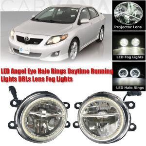LED Fog Light Kit Angel Eye Rings DRL Daytime Running Lamp For Toyota Corolla