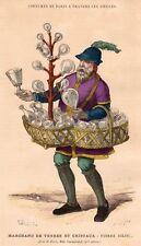 GRAVURE 1878 ENGRAVING PARIS MARCHAND DE VERRE CRISTAL & GLASS SELLER