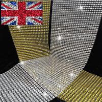GOLD SILVER Diamante Rhinestone Diamond Effect Ribbon Trim for Wedding