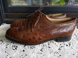 Luxus Vintage Straußenleder Business Schuhe von CROCKETT & JONES Gr. 27,5 / 43