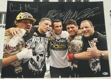 Nick & Nate Diaz Gilbert Melendez Jake Shields +1 Signed 16x20 Photo BAS COA UFC