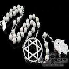 14k White Gold Finish Lab Diamond Ball 6 Point Star Hamsa Chain Rosary Necklace
