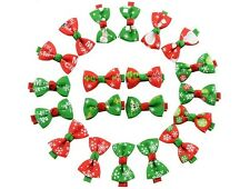 20 Pcs Girl Christmas Holiday Gift Snowflake Ribbon Hair Bows Clip Girl Hairpin