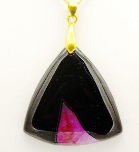 """Black Onyx Crackle Quartz Pendant Necklace, 20"""" 18ct Gold plated Chain"""