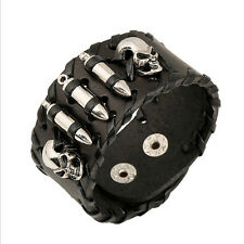 Skull Bracelet Cool Men Leather Belt Wristband Fashion Punk Bangle Gift