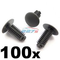 100x Plastic Fir Tree Trim Clips- 8mm Hole, 18mm Head, Dark Grey- Perfect for VW