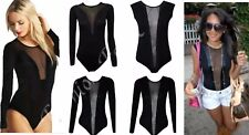 MH Women's Full & Half Mesh Ladies Long Sleeve Bodysuits Sleeveless Leotard Top