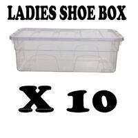 10 x PLASTIC LADIES SHOE BOX STORAGE STACKABLE CLEAR BOX DRAWER TRANSPARENT UNIT