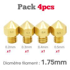 PACK x4 Buse MK8 1.75mm diam 0.2, 0.3, 0.4, 0.5mm imprimante 3D Nozzle Extruder