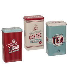 Kitchen Tea Coffee Sugar Set Tin Retro Canister Storage Box Large Jar Pack Of 3