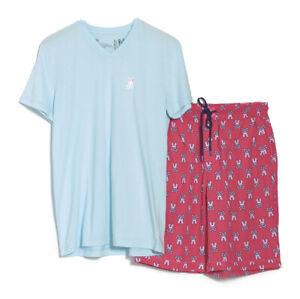 Psycho Bunny Men's Blue S/S V-Neck Shirt & Pink Woven Short Lounge Set Gift Box