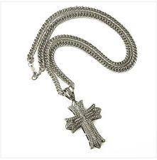 Men Men's Iced Out Cross Jesus Pendant Clear CZ Snake Chain Necklace Jewelry