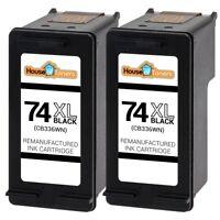 2pk 74XL CB336WN Black Ink for HP Photosmart C4200 C4280 C4300 C4380 C4400 C4450