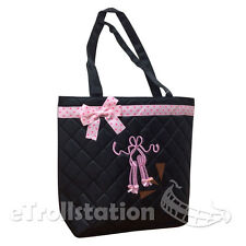 New Girls Black Quilted Tote Toe Shoe Dance Bag Ballet Slippers Pink Ribbon