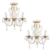 Pair of Vintage Style Distressed White  Cream 3 Way Ceiling Lights Chandelier