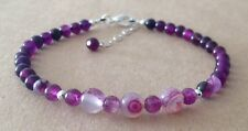 PURPLE Banded AGATE+Purple Agate, Sterling Silver, Beaded Friendship Bracelet