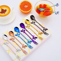Small Branch Leaf Tea Spoon Teaspoon Spoons Dessert Fork Fruit Dinnerware HOT!
