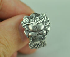 Beautiful 925 Sterling Silver Rose Flower Spoon Ring