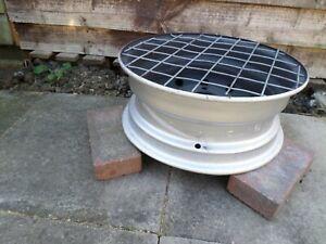 "Upcycled Silver 15"" Steel Wheel Redneck BBQ/Firepit/Chimenea/Patio Heater"