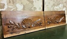 Pair shell fruit wood carving pediment Antique french architectural salvage