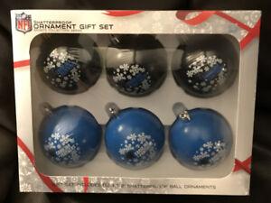 CAROLINA PANTHERS CHRISTMAS ORNAMENT BOX SET OF 6 SHATTERPROOF NEW
