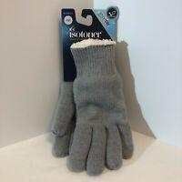 Isotoner Women's SmartDri One Size Light Gray Knit Gloves w Fleece Liner NWT