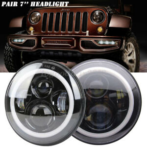 "2x 7"" Round Halo Angle Eyes LED Headlights Hi/Lo 97-17 JEEP JK TJ LJ Wrangler"
