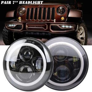 "2x 7"" Round Halo Angle Eyes LED Headlights Hi/Lo 97-17 JEEP JK TJ LJ Wrangler"