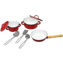 Metal Pots Pans Red Kitchen Cookware Playset Kids with Cooking Utensils New