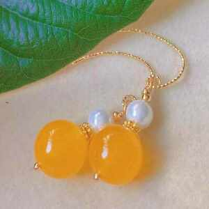 Fashion yellow round Chalcedony white pearl bead gold earrings Cultured Jewelry