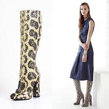 sz 37 NEW $3500 GUCCI RUNWAY ANACONDA Leather HORSEBIT Lillian KNEE HIGH BOOTS 7