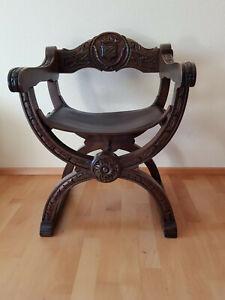 Antiker Scherenstuhl, Ritterstuhl.Gebraucht