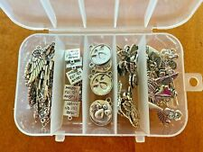 Angels Antiqued Silver Metal Charms for Jewelry Making in Storage Box 60+ charms
