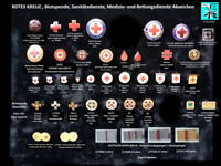 ROTES KREUZ Ehren-/ Blutspende Medizin-/ Sanitätsdienste Abzeichen AUSSUCHEN