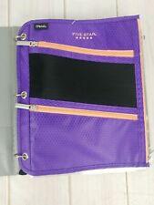 Mead 5 Star Pencil Pen 3 Compartment Binder Insert Holder Pouch Purple Organizer