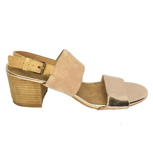 Toms Wedge Heels Women's Size 10 Beige Rose Gold Leather Strappy New