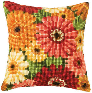 """Gerbera Chunky Cross Stitch Cushion Front Kit from Vervaco 16 x 16"""""""