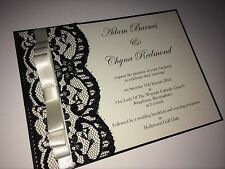 Personalised/handmade Lace Wedding Invitation Card and envelopes