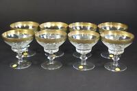 9x Sektschale geschliffenes Kristallglas vergoldet mit Etikett  (BI2475)