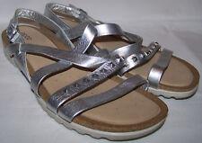 Womens ECCO DAGMAR Silver Cross Strap Comfort Sandals US 10/10.5 EU 41
